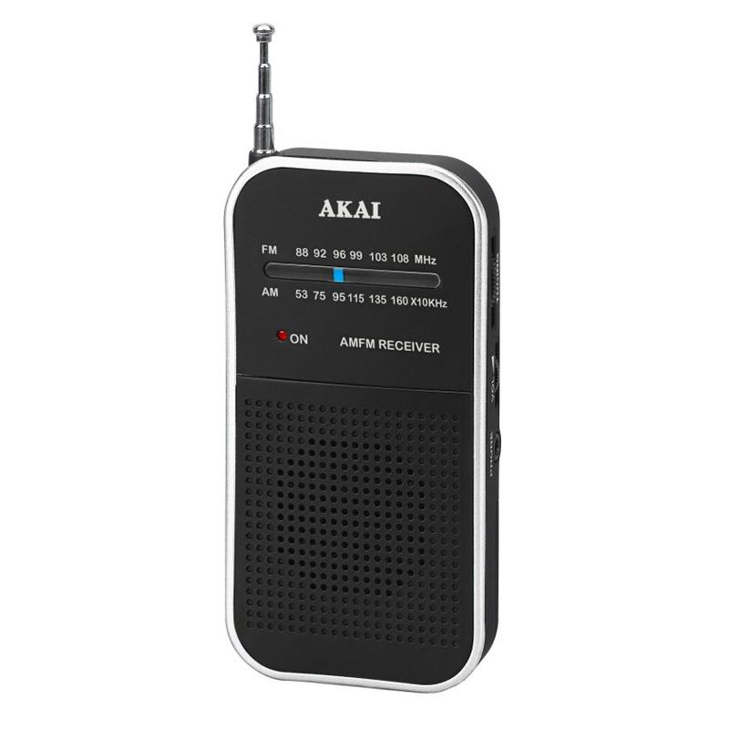 Radio portabil de buzunar Akai, AM/FM, antena telescopica, difuzor mono, Negru 2021 shopu.ro