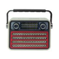 Radio stil retro Meier M-182BT, USB, suport card SD, Rosu/Alb