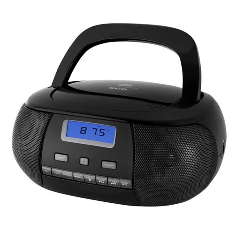 Radio CD Player Ecg, 6 baterii x 1.5 V, aux 3.5 mm, tuner FM, memorie 20 posturi, Negru 2021 shopu.ro