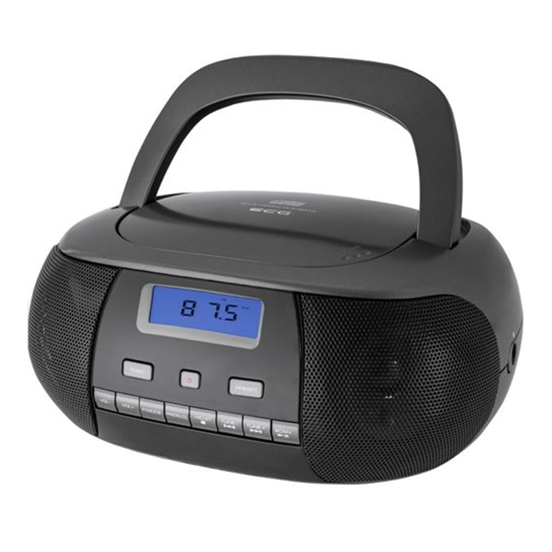 Radio CD Player Ecg Titan, 2 x 1 W, 6 baterii x 1.5 V, aux 3.5 mm, tuner FM, memorie 20 posturi, Negru 2021 shopu.ro