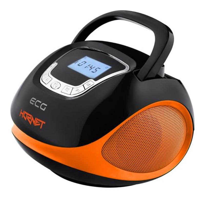 Radio multimedia Ecg Hornet, 2 x 3 W, 1200 mAh, USB, SD, FM, ceas cu alarma, Negru/Portocaliu 2021 shopu.ro