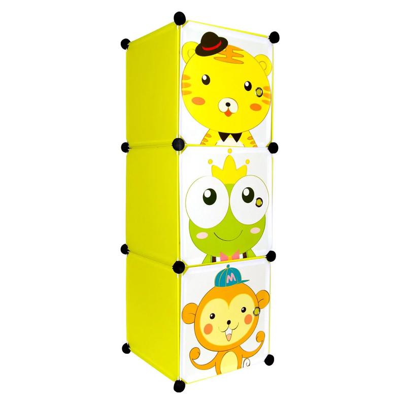 Raft cu 3 sertare pentru copii, 111 x 37 x 37 cm, model animalute 2021 shopu.ro