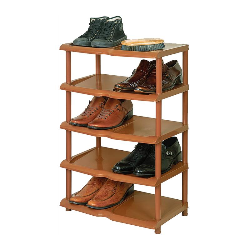 Raft pentru pantofi, 79 x 48 x 31 cm, plastic, 5 nivele, Maro 2021 shopu.ro