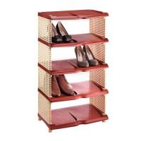 Raft pentru pantofi, 87 x 48 x 31 cm, rattan, 5 nivele, Maro