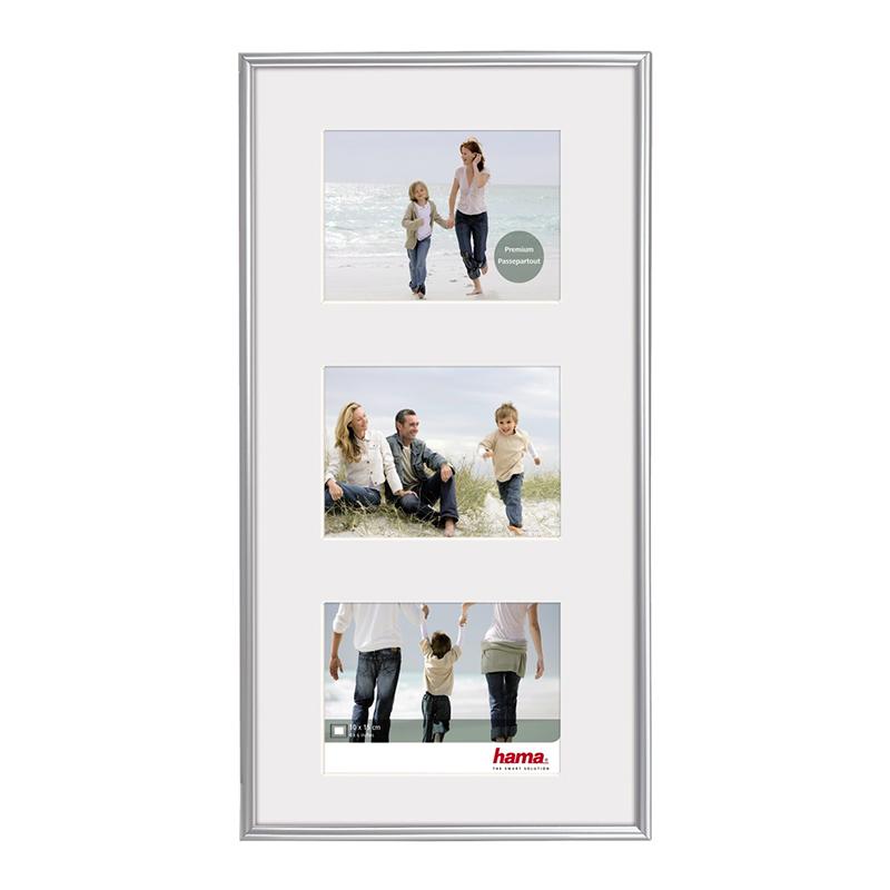 Rama foto Madrid Hama, 23 x 45 cm, plastic, 3 fotografii, Argintiu 2021 shopu.ro