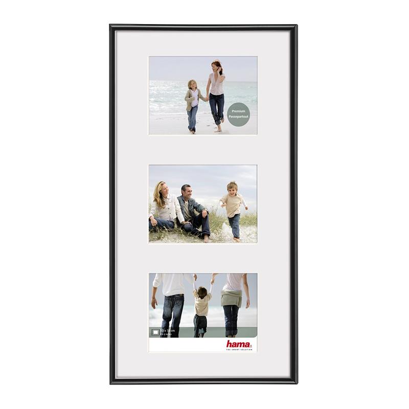 Rama foto Madrid Hama, 23 x 45 cm, plastic, 3 fotografii, Negru 2021 shopu.ro
