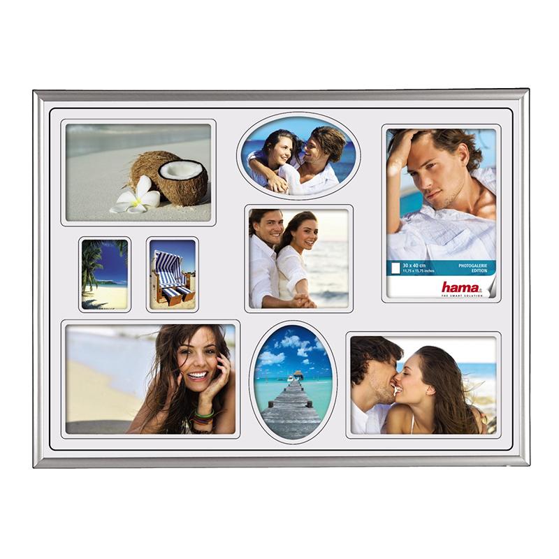 Rama foto Madrid Hama, 30 x 40 cm, plastic, 9 fotografii, Argintiu 2021 shopu.ro