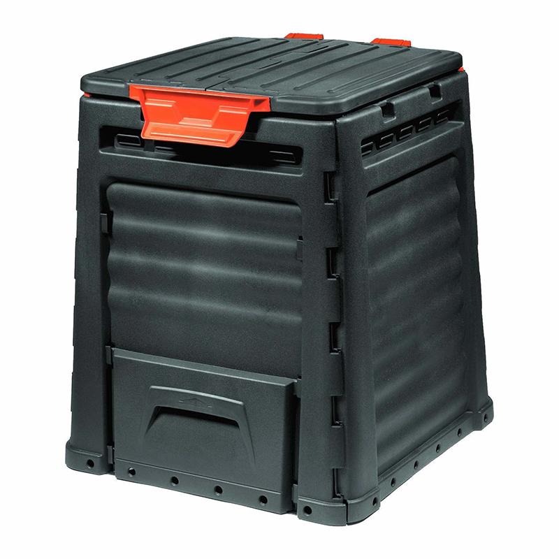 Recipient compost Eco, 320 l, plastic, Negru shopu.ro