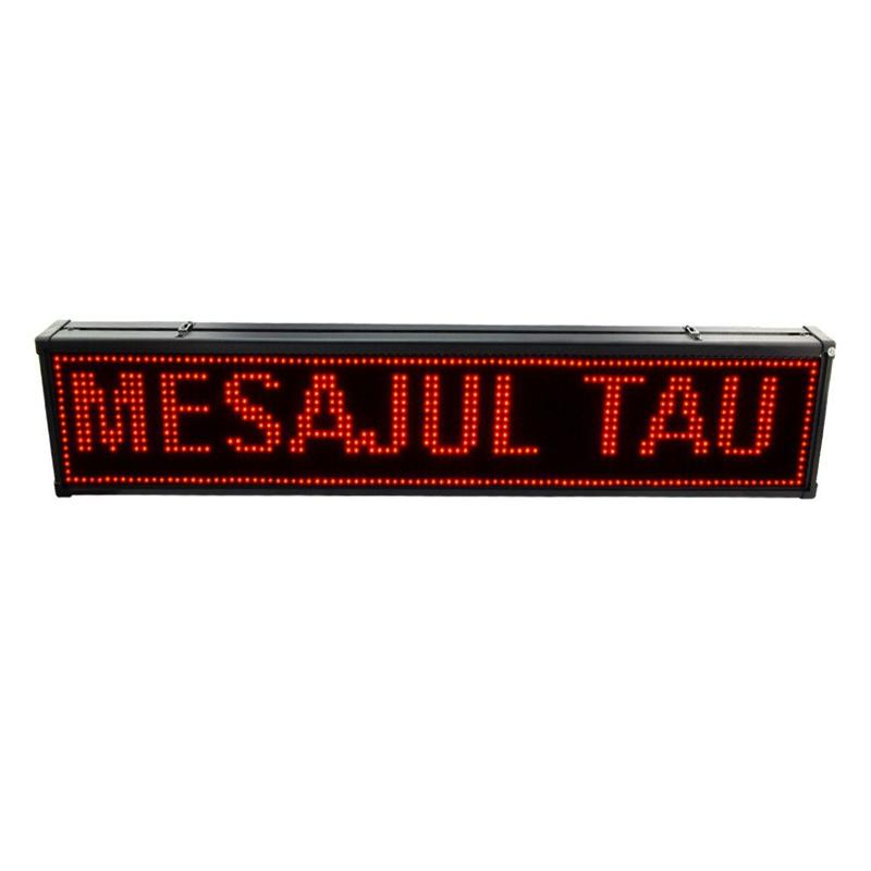 Reclama luminoasa de exterior, 200 x 40 cm, LED, text personalizat, senzor temperatura, Rosu 2021 shopu.ro