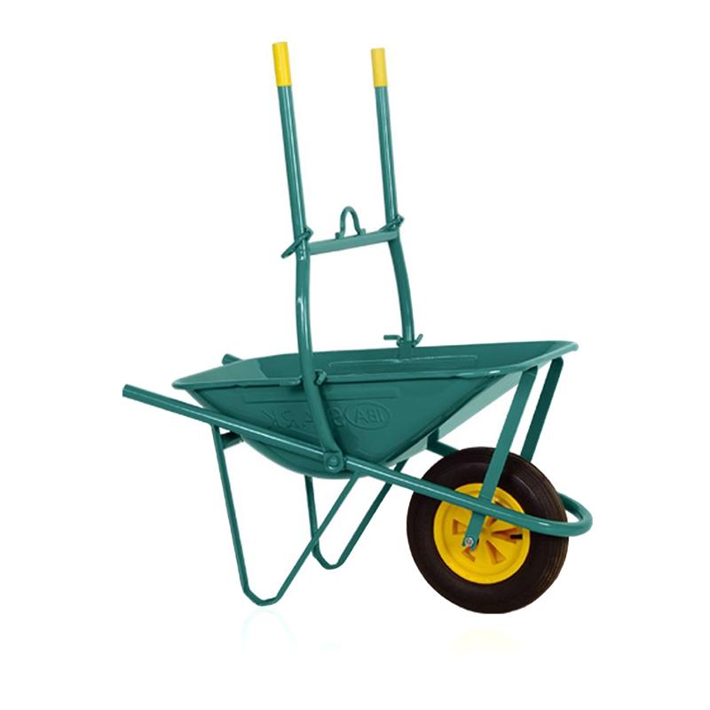 Roaba cu manere basculabile, 75 l, cuva tabla zincata, maxim 75 kg, Verde/Galben shopu.ro