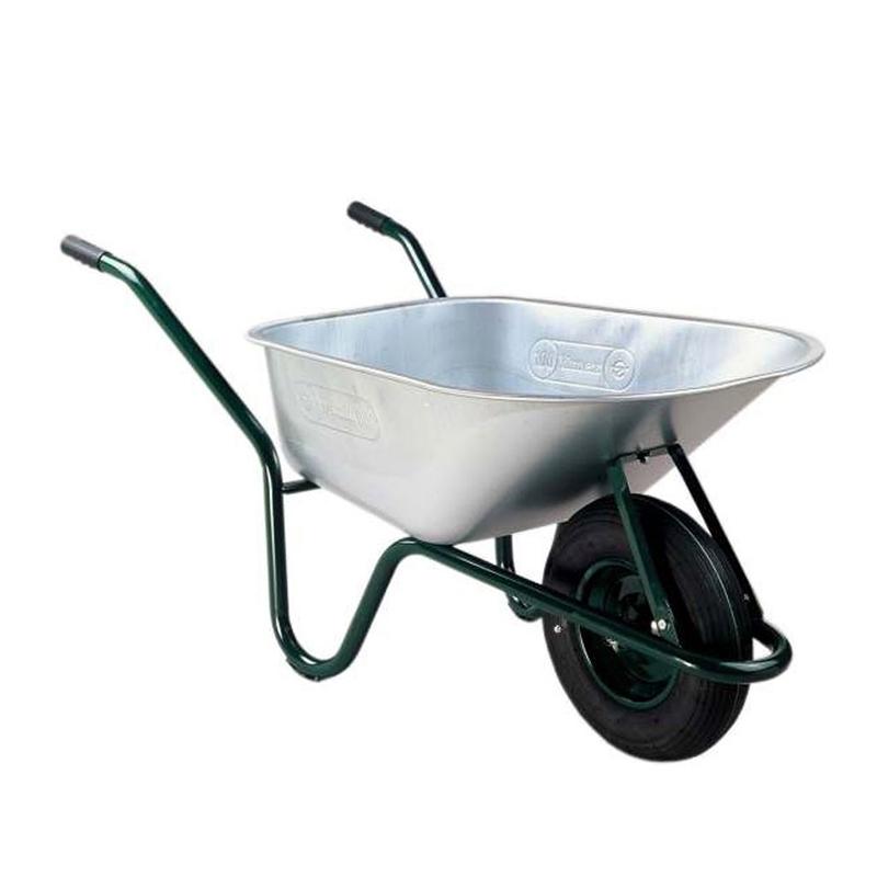 Roaba pentru constructii Limex, 100 l, cuva tabla zincata, maxim 130 kg, Argintiu/Verde shopu.ro