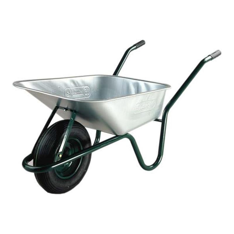 Roaba pentru constructii Limex, 85 l, cuva tabla zincata, maxim 100 kg, Argintiu/Verde 2021 shopu.ro