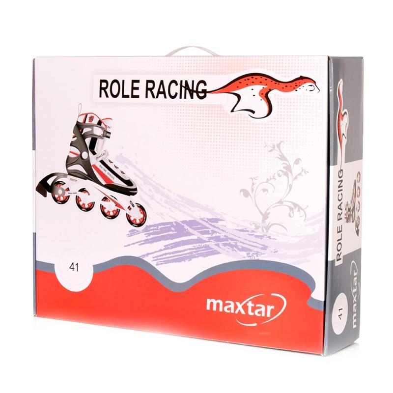 Role racing Maxtar, marimea 43, plastic/PVC, roti poliuretan, Rosu/Negru