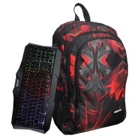 Rucsac multifunctional Red Unkeeper, tastatura si mouse incluse
