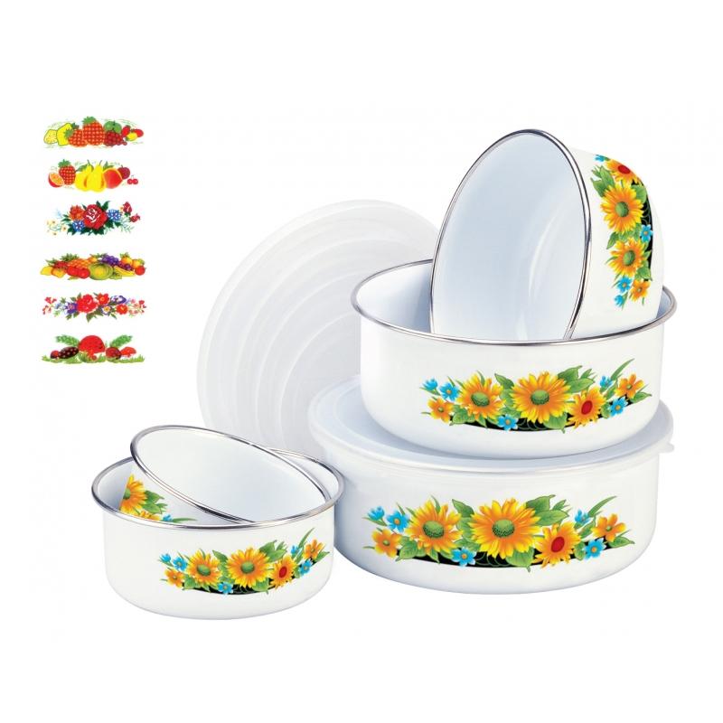 Set 5 casolete din email Sanusy SN-2014, model floral