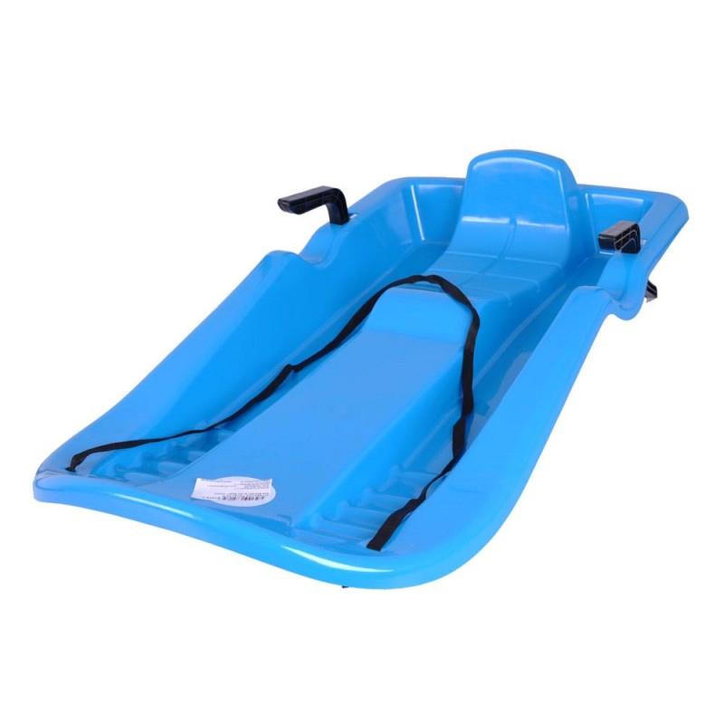Sanie plastic cu frana, scaun cu spatar, design ergonomic, Albastru 2021 shopu.ro