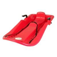 Sanie plastic cu frana, scaun cu spatar, design ergonomic, Rosu