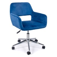 Scaun birou, tapiterie catifea, suporta maxim 100 kg, albastru