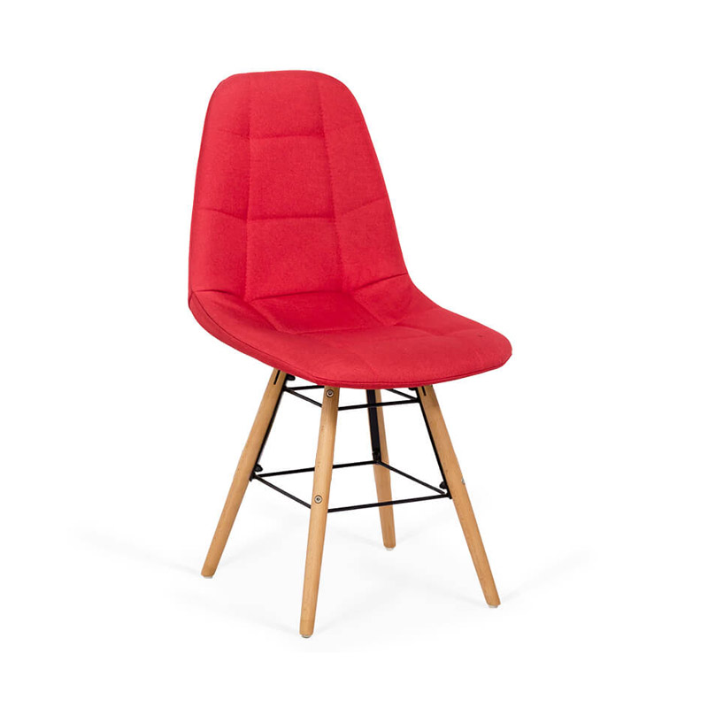 Scaun dining, inaltime 84 cm, cadru lemn, tapiterie stofa, suporta 110 kg, Rosu 2021 shopu.ro