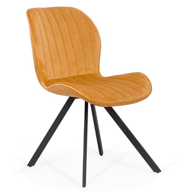 Scaun living, inaltime 76 cm, tapiterie catifea, forma ergonomica, Galben 2021 shopu.ro