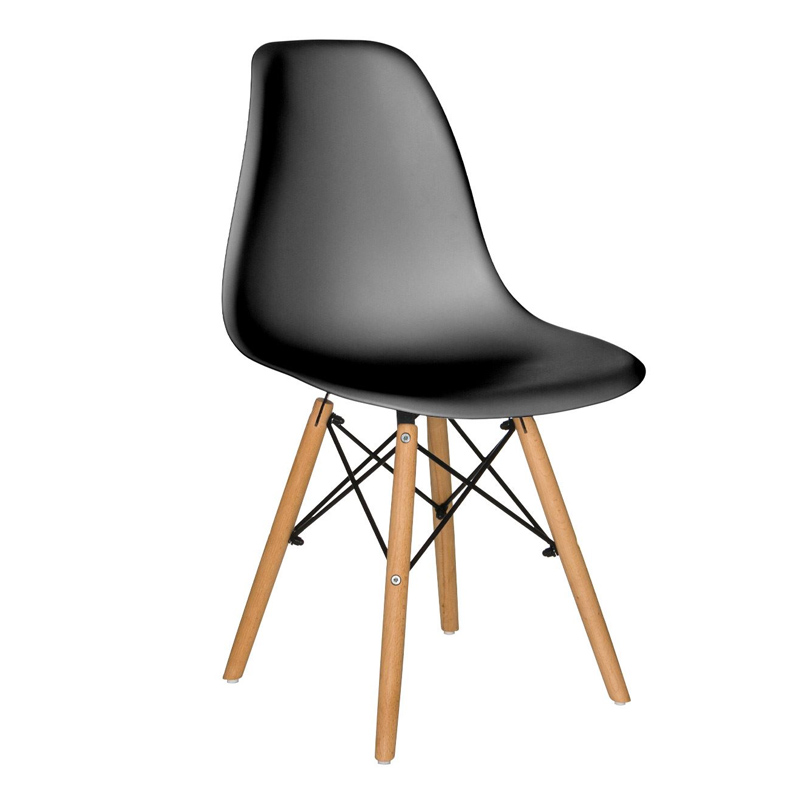 Scaun pentru bucatarie, scoica plastic, picioare lemn, 45 x 40 x 80 cm, Negru shopu.ro
