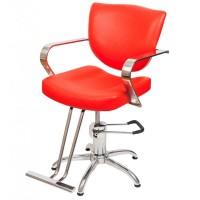 Scaun pentru frizerie Milano, piele ecologica, rosu