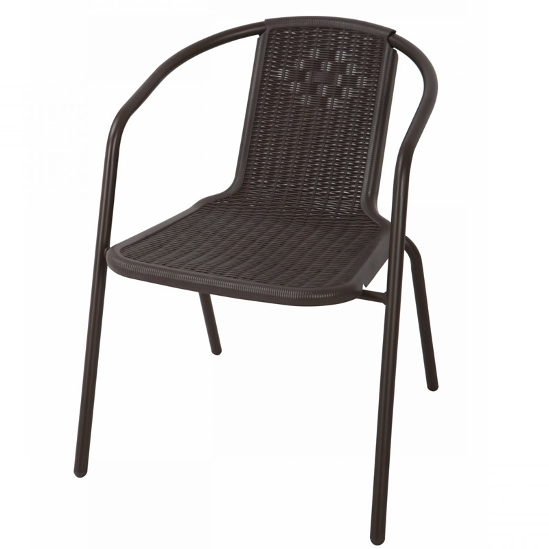 Scaun pentru gradina Bistro, metal, polietilena, maro 2021 shopu.ro