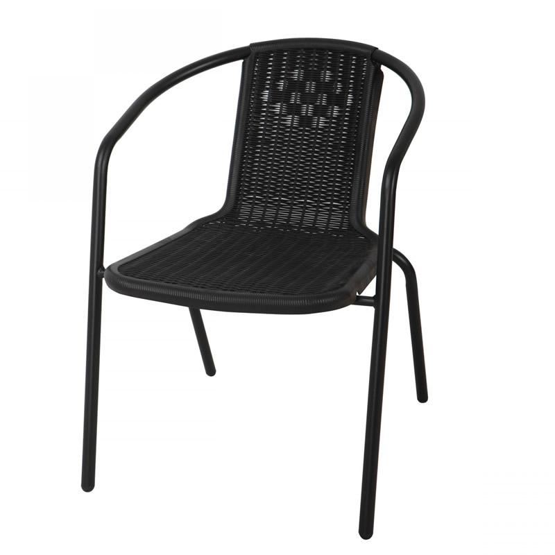 Scaun pentru gradina Bistro, metal, polietilena, negru 2021 shopu.ro