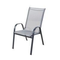 Scaun pentru gradina, metal, textilen, gri