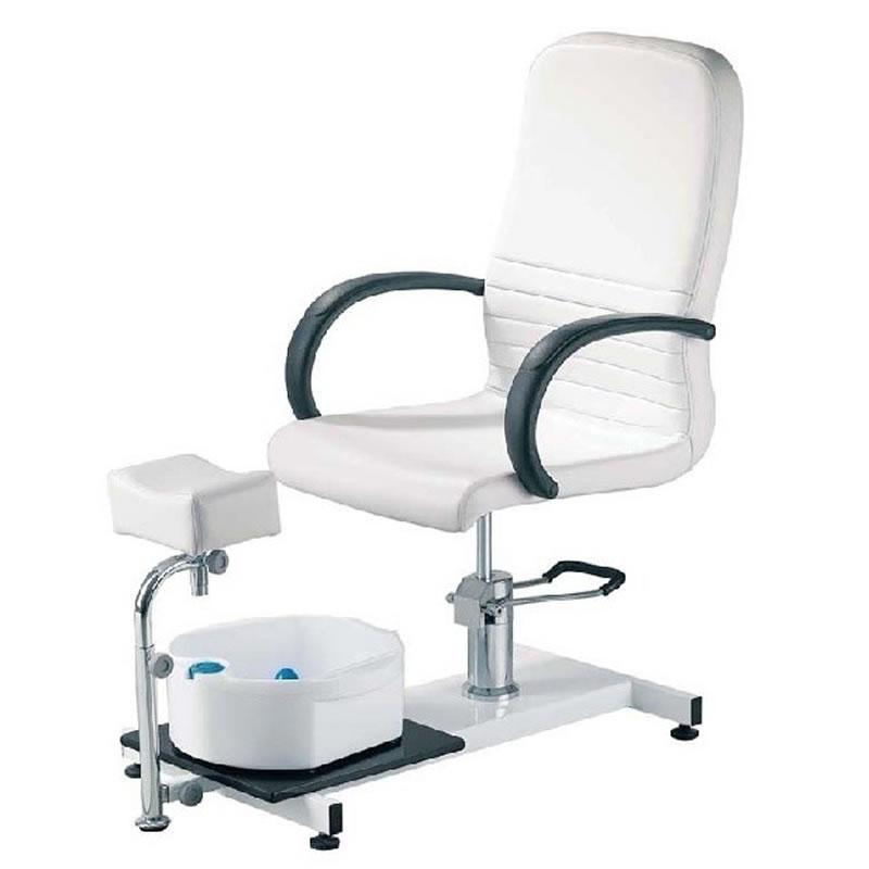 Scaun pentru pedichiura cu cadita, piele ecologica, alb 2021 shopu.ro
