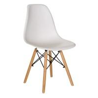 Scaun pentru bucatarie, scoica plastic, picioare lemn, 45 x 40 x 80 cm, Alb