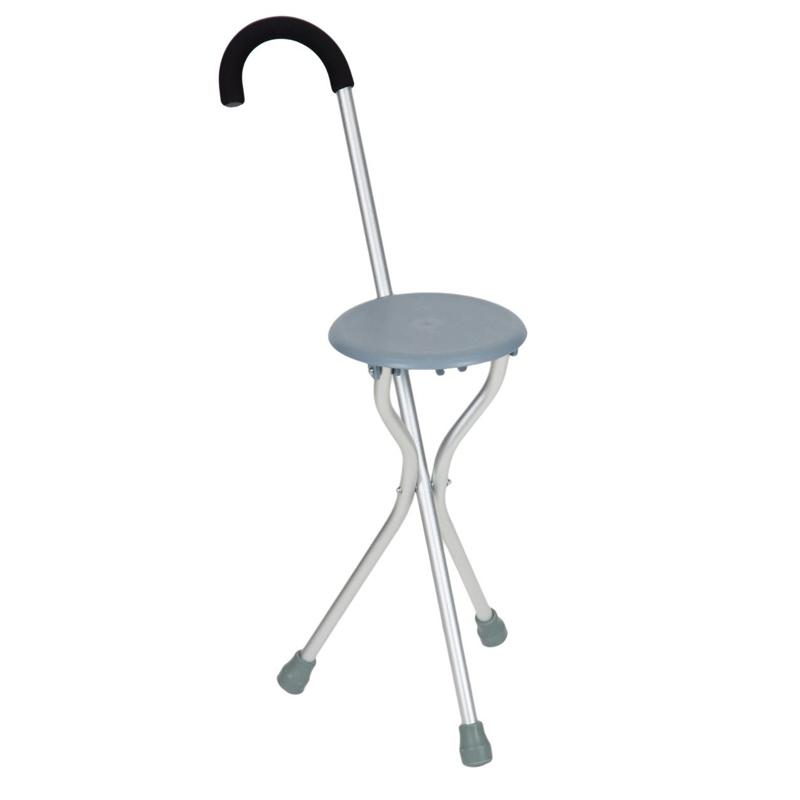 Scaun pliabil cu baston, inaltime 47 cm, maxim 120 kg, Argintiu 2021 shopu.ro