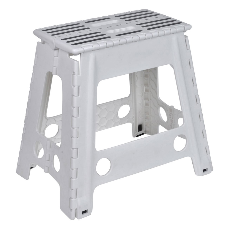 Scaun pliabil tip taburet, 38 x 22 x 45 cm, maxim 120 kg, Alb/Negru 2021 shopu.ro