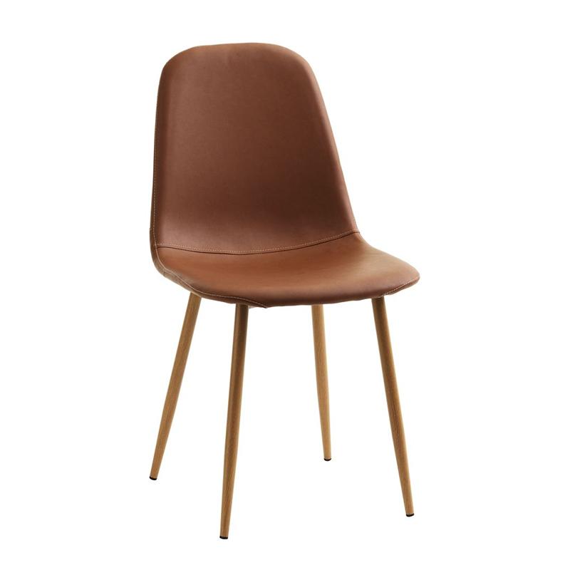 Scaun pentru bucatarie, 43 x 84 x 53 cm, piele ecologica/metal, maxim 110 kg, Stejar/Maro 2021 shopu.ro
