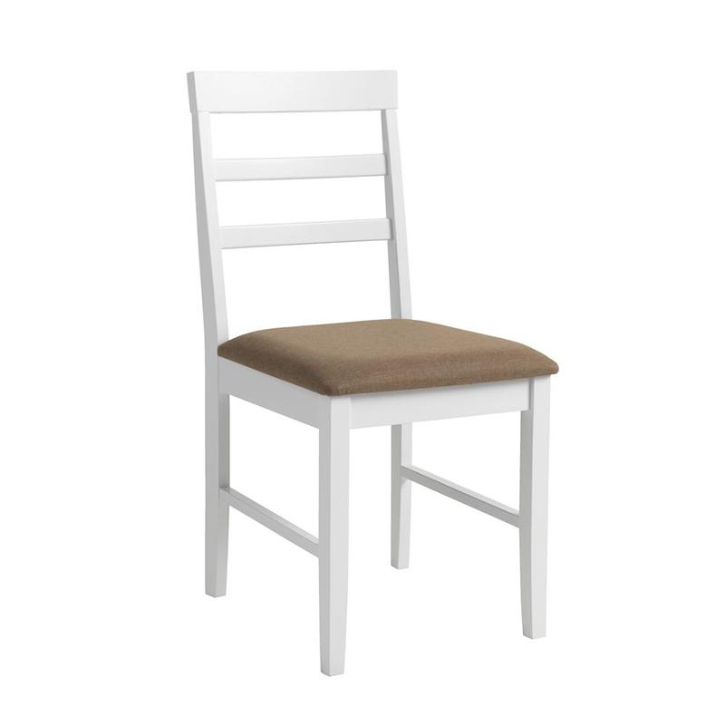Scaun pentru bucatarie, 43 x 87 x 52 cm, lemn masiv, maxim 110 kg, Alb/Bej 2021 shopu.ro