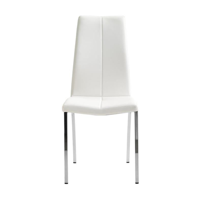 Scaun pentru bucatarie, 44 x 95 x 57 cm, piele ecologica/otel, maxim 110 kg, Alb/Argintiu 2021 shopu.ro