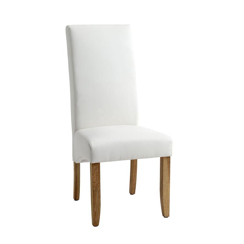 Scaun pentru bucatarie, 47 x 107 x 62 cm, piele ecologica/lemn masiv, maxim 110 kg, Alb/Bej 2021 shopu.ro