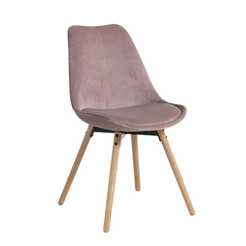 Scaun pentru bucatarie, 49 x 84 x 55 cm, catifea, cadru lemn, maxim 110 kg, Roz 2021 shopu.ro