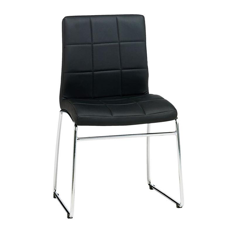 Scaun pentru bucatarie, 53 x 86 x 56 cm, piele ecologica/metal, maxim 110 kg, Negru/Argintiu shopu.ro