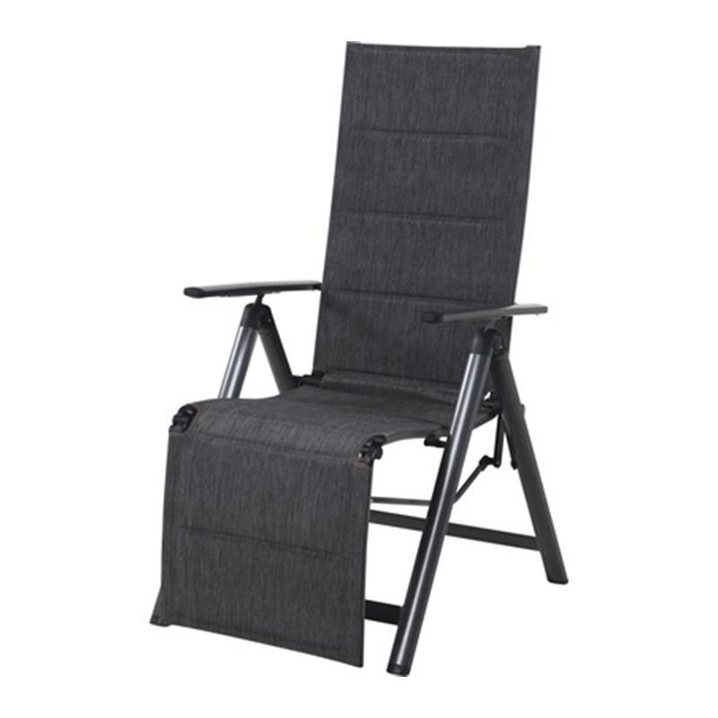 Scaun pliabil cu perna Garden Place, 57 x 74 x 110 cm, textil/plastic, cadru aluminiu, maxim 110 kg, Gri 2021 shopu.ro