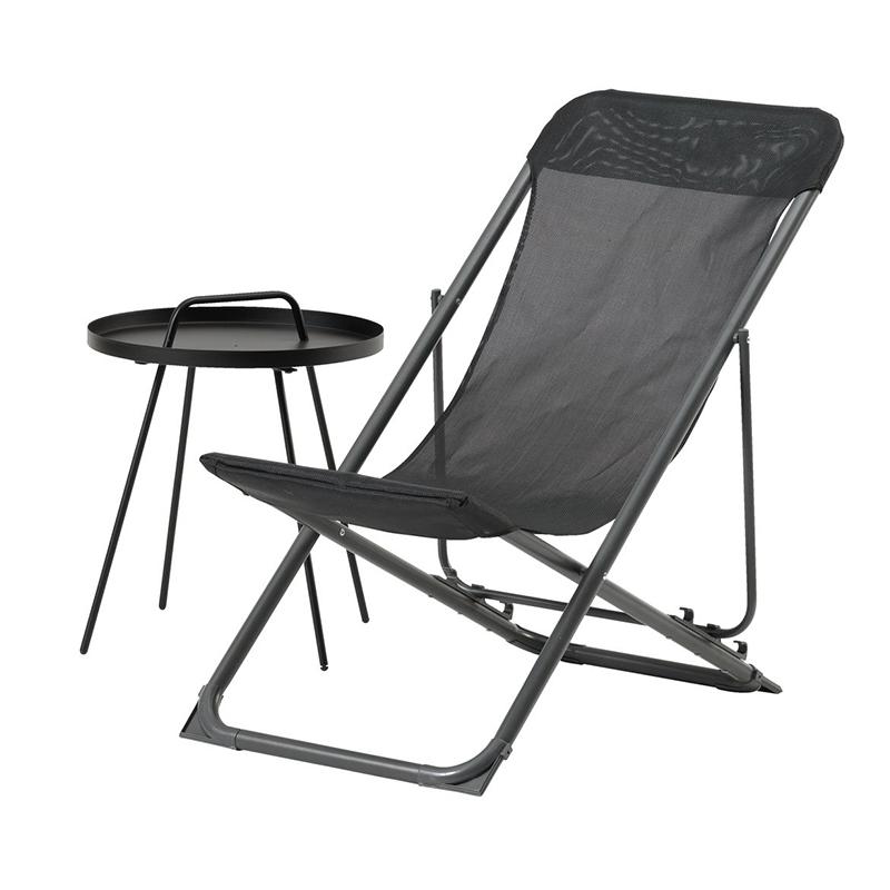 Scaun pliabil pentru camping, 56 x 91 x 85 cm, plastic/textil, cadru otel, Gri 2021 shopu.ro
