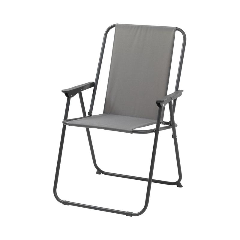 Scaun pliabil pentru camping, 57 x 84 x 62 cm, poliester, cadru otel, Gri 2021 shopu.ro