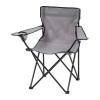 Scaun pliabil pentru camping, 51 x 80 x 80 cm, poliester, cadru otel, Gri