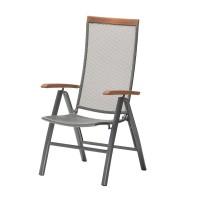 Scaun reglabil pentru terasa, 56 x 112 x 70 cm, eucalipt/lemn, cadru aluminiu, Gri/Maro
