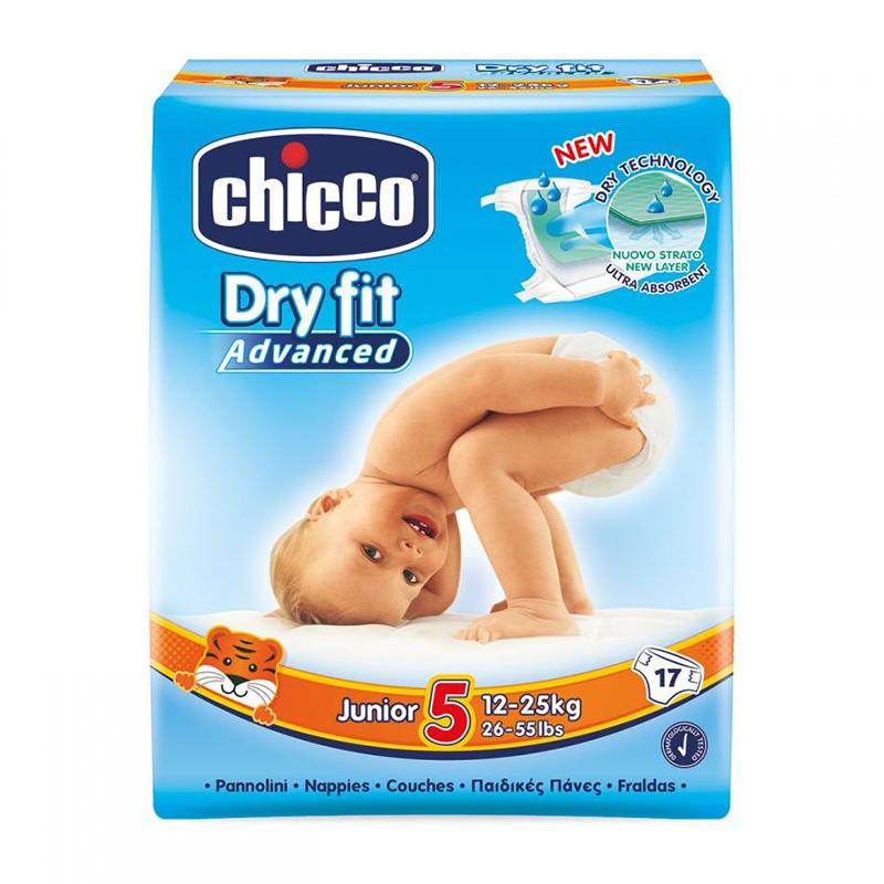 Scutece Dry Fit Advanced Junior Chicco, marime 5, 12-25 kg, 17 bucati/pachet 2021 shopu.ro