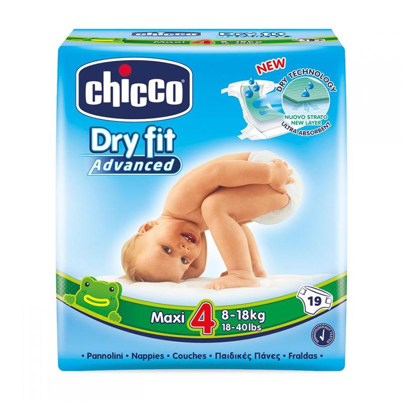 Scutece Dry Fit Advanced Maxi Chicco, marime 4, 8-18 kg, 19 bucati/pachet 2021 shopu.ro