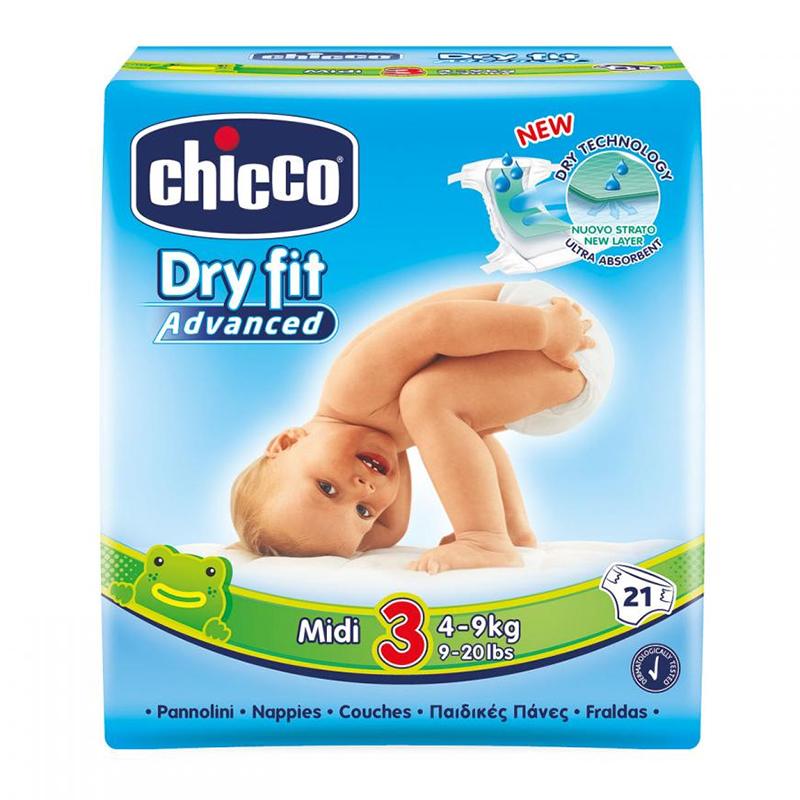 Scutece Dry Fit Advanced Midi Chicco, marime 3, 4-9 kg, 21 bucati/pachet 2021 shopu.ro