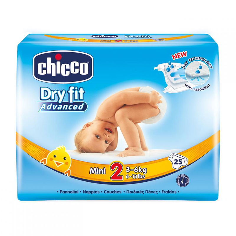 Scutece Dry Fit Advanced Mini Chicco, marime 2, 3-6 kg, 25 bucati/pachet 2021 shopu.ro
