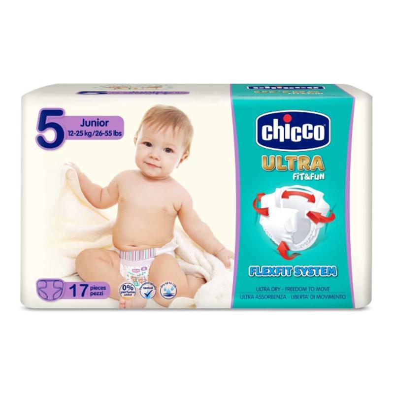 Scutece Ultra Fit & Fun Junior Chicco, marime 5, 12-25 kg, 17 bucati/pachet 2021 shopu.ro