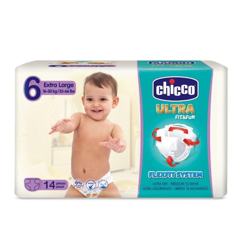 Scutece Ultra Fit & Fun Extra Large Chicco, marime 6, 16-30 kg, 14 bucati/pachet 2021 shopu.ro